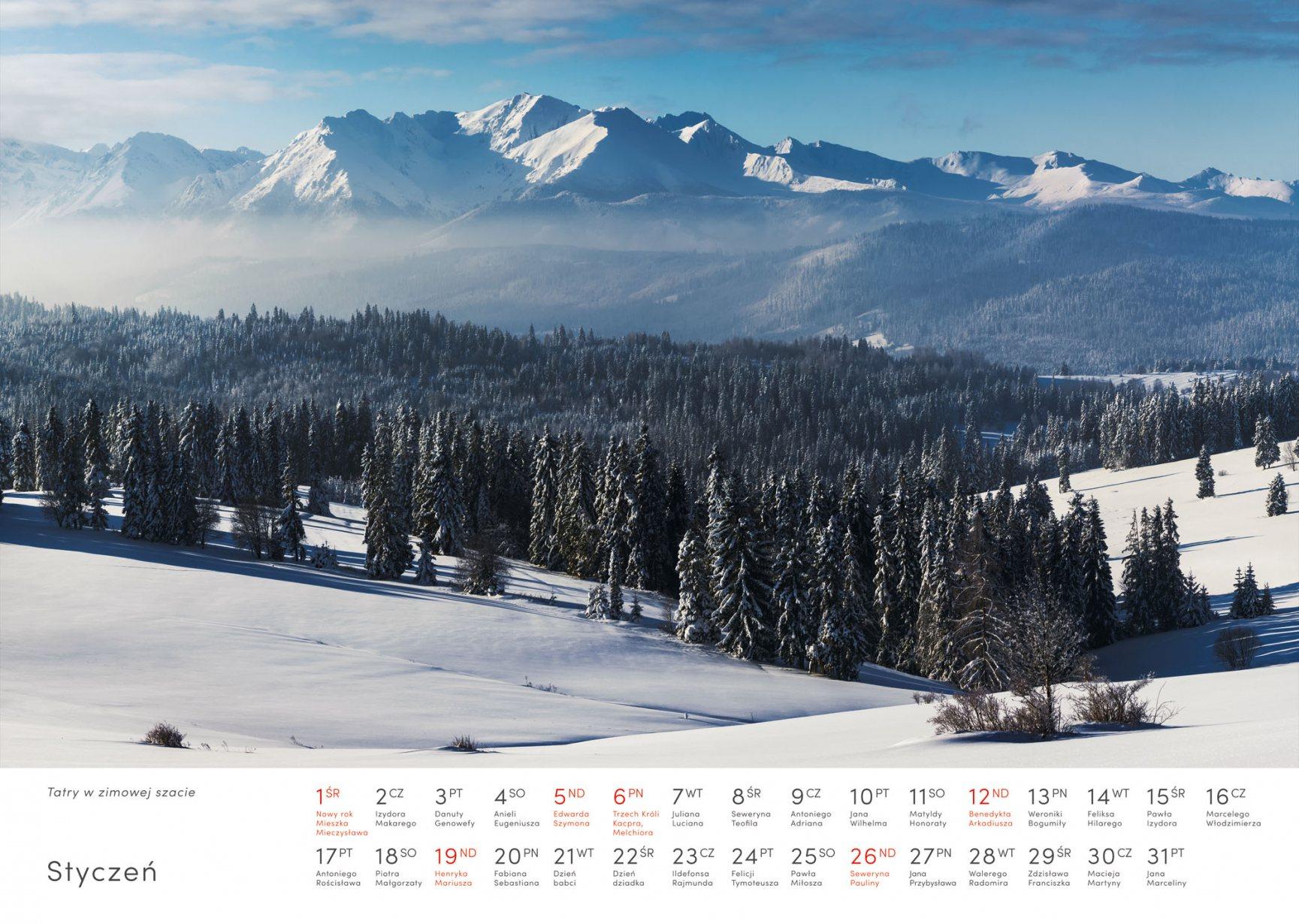 Kalendarz krajobrazy 2020 - Styczeń - Piotr Kałuża - Tatry zimą