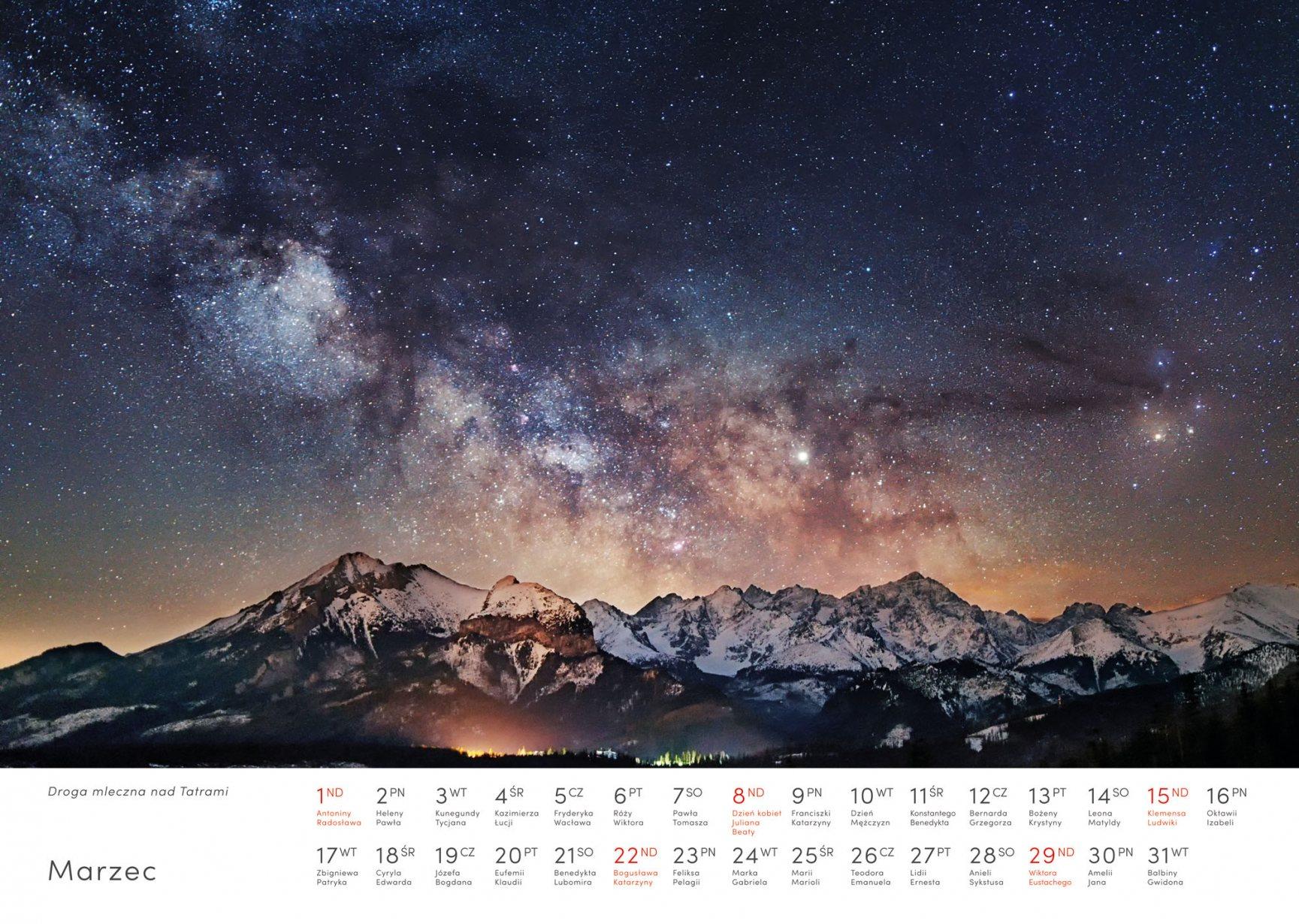Kalendarz krajobrazy 2020 - Marzec - Piotr Kałuża - Droga Mleczna nad Tatrami