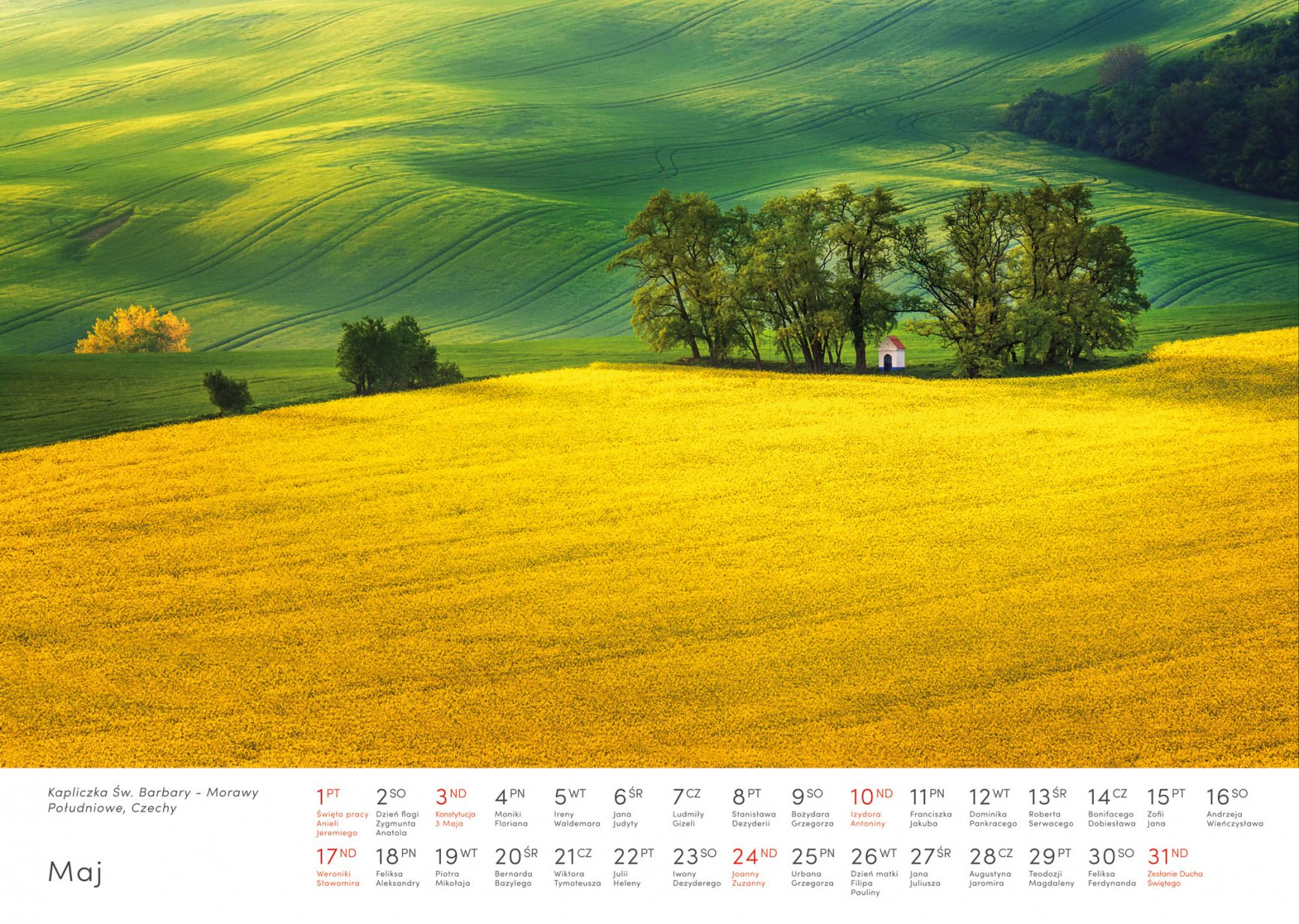 Kalendarz krajobrazy 2020 - Maj - Piotr Kałuża - Kapliczka Św. Barbary w Czechach Morawy Południowe