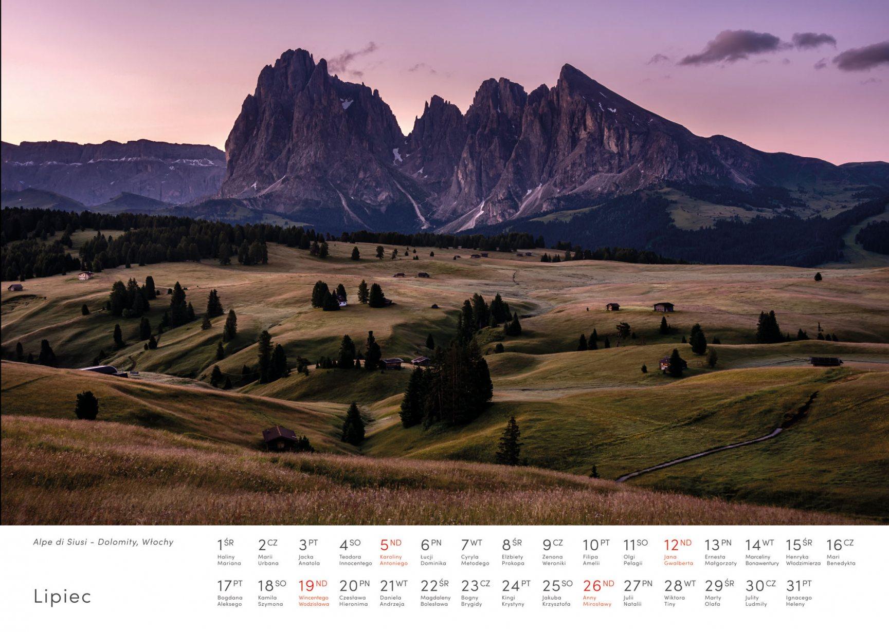 Kalendarz krajobrazy 2020 - Lipiec - Piotr Kałuża - Alpe di Siusi Dolomity