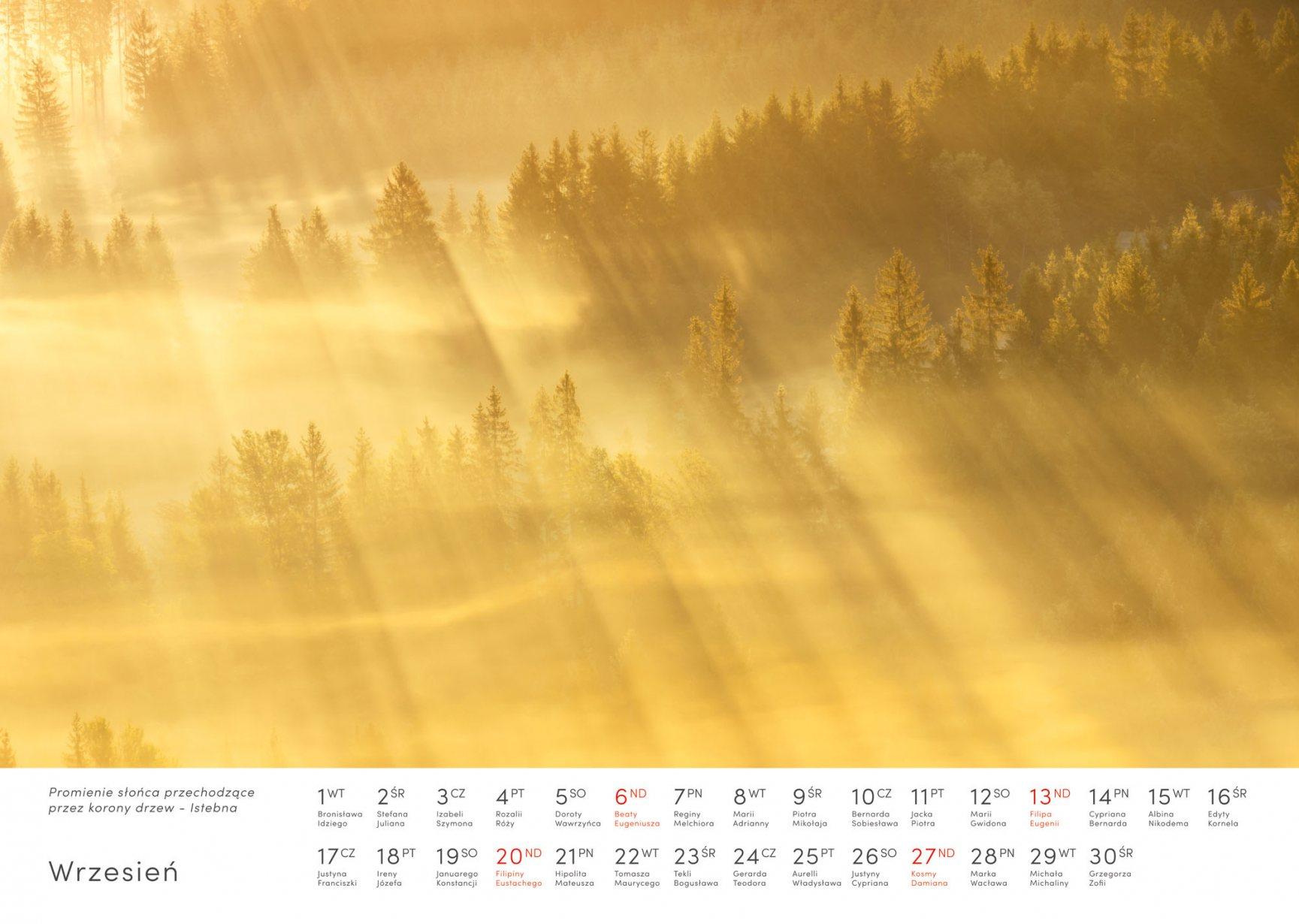 Kalendarz krajobrazy 2020 - Wrzesień - Piotr Kałuża - Istebna promienie słońca krajobraz