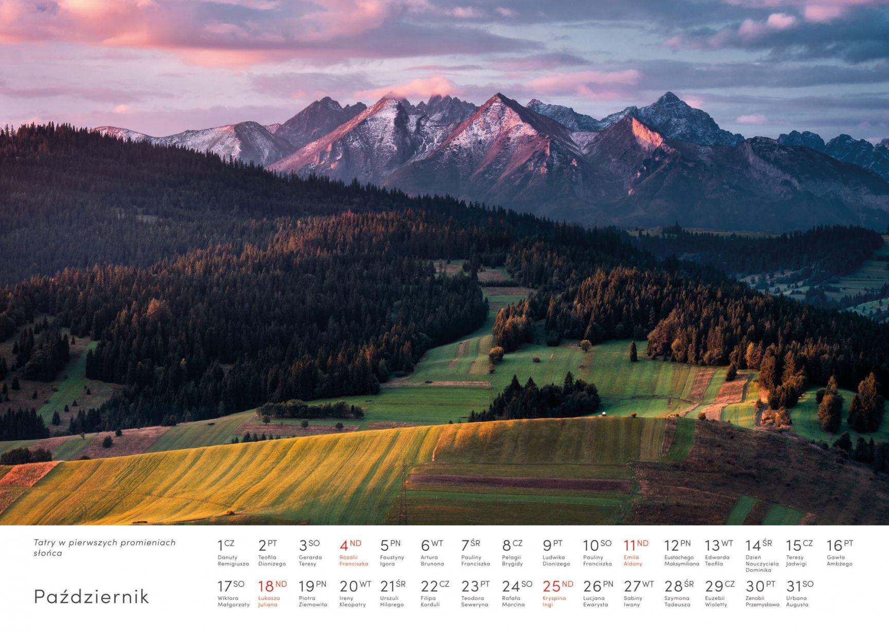 Kalendarz krajobrazy 2020 - Październik - Piotr Kałuża - Tatry jesienią