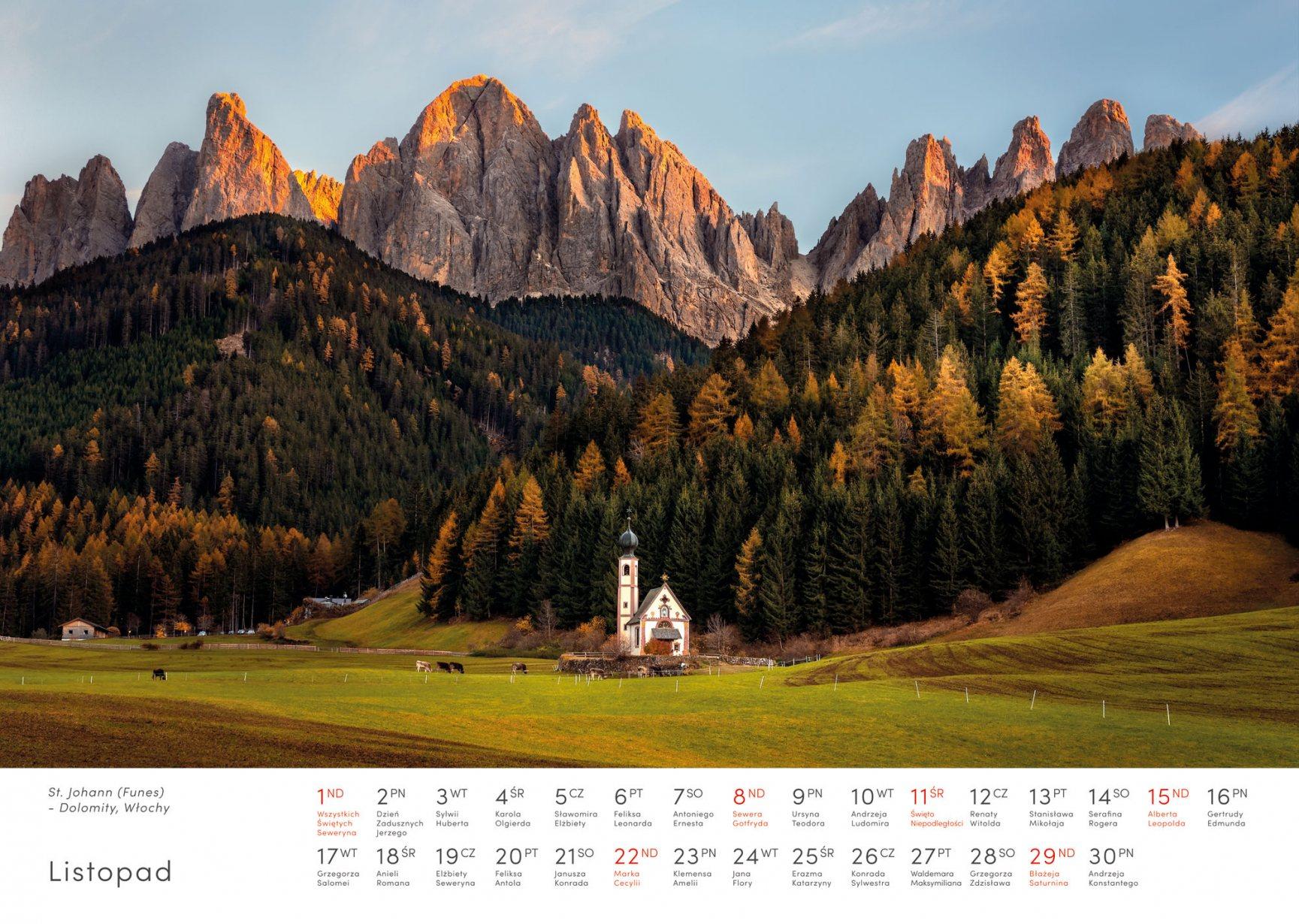 Kalendarz krajobrazy 2020 - Listopad - Piotr Kałuża - La Valle St. Maddalena Dolomity