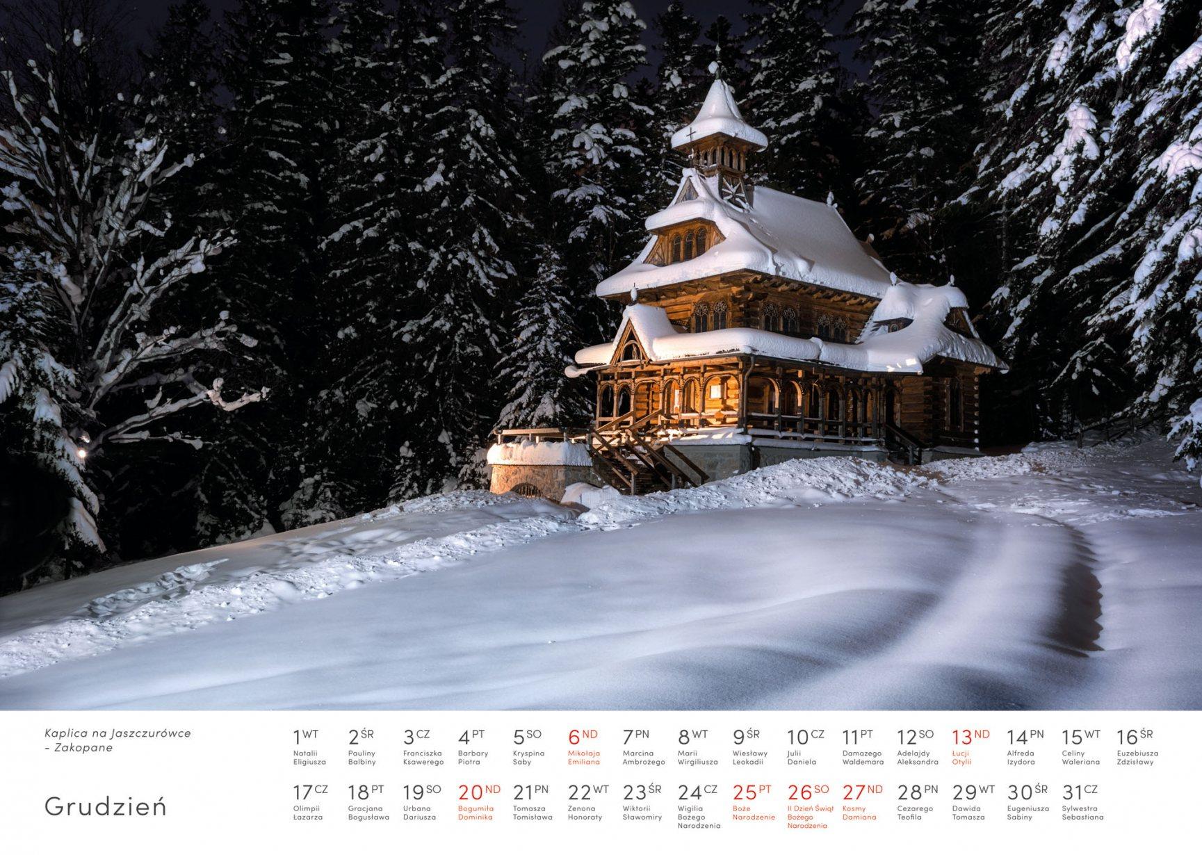 Kalendarz krajobrazy 2020 - Grudzień - Piotr Kałuża - Kaplica na Jaszczurówce w Zakopanem