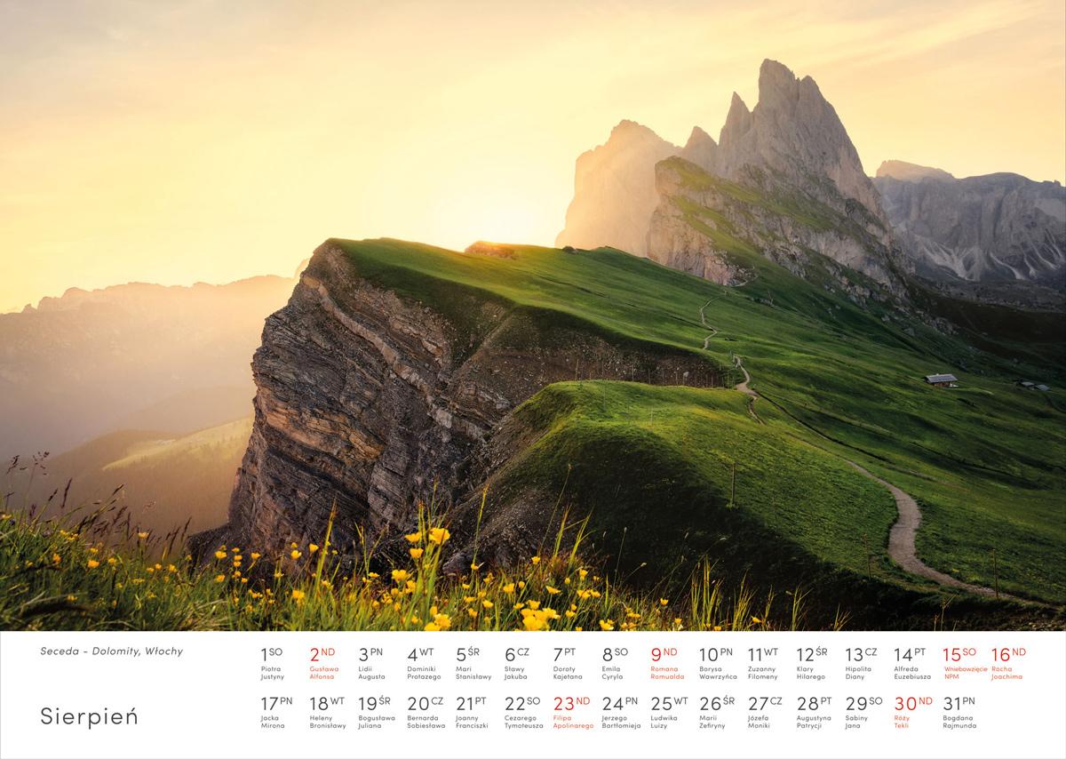 Kalendarz krajobrazy 2020 - Sierpień - Piotr Kałuża - Seceda Dolomity